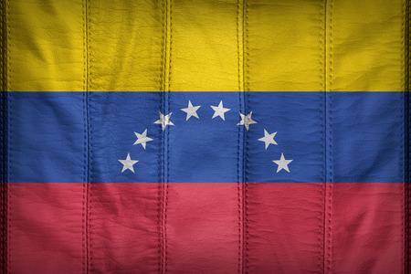 bandera de venezuela: patrón de bandera de Venezuela en la textura de cuero sintético