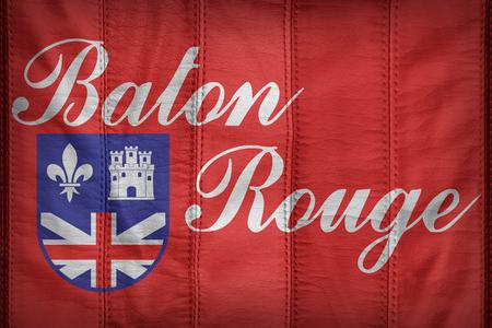 louisiana flag: Baton Rouge,Louisiana flag pattern on synthetic leather texture