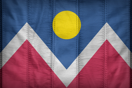 colorado flag: Denver, Colorado flag pattern on synthetic leather texture Stock Photo