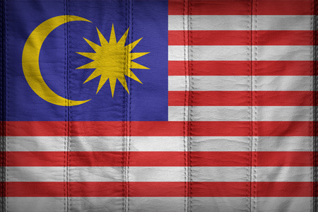 Malaysia flag pattern on synthetic leather texture