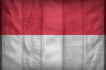 Indonesia flag pattern on synthetic leather texture
