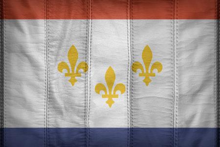 louisiana flag: New Orleans ,Louisiana flag pattern on synthetic leather texture