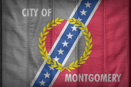 alabama flag: Montgomery ,Alabama flag pattern on synthetic leather texture