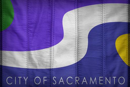 california flag: Sacramento ,California flag pattern on synthetic leather texture Stock Photo