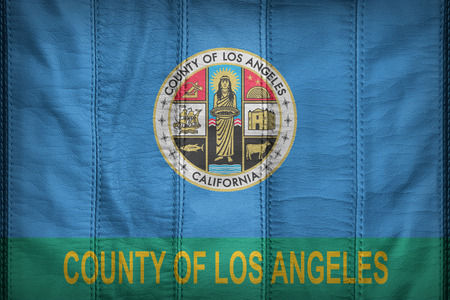 los angeles county: Los Angeles County flag pattern on synthetic leather texture Stock Photo