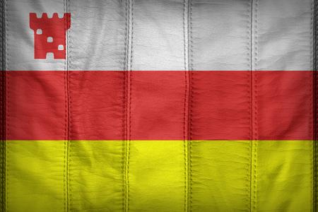 california flag: Santa Barbara ,California flag pattern on synthetic leather texture