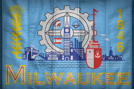 wisconsin flag: Milwaukee ,Wisconsin flag pattern on synthetic leather texture