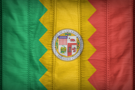 california flag: Los Angeles,California flag pattern on synthetic leather texture