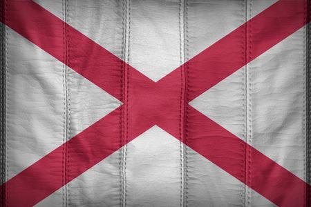 alabama flag: Alabama flag pattern on synthetic leather texture