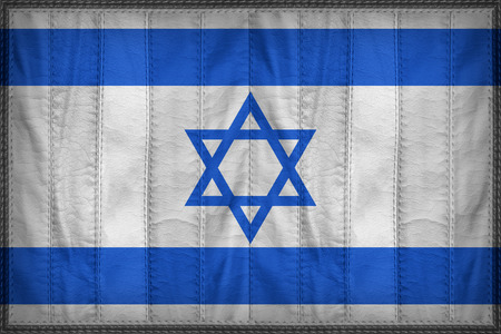 Israel flag pattern on synthetic leather texture