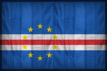 cape verde flag: Cape Verde flag pattern on synthetic leather texture