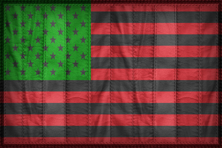 african america: African America flag pattern on synthetic leather texture