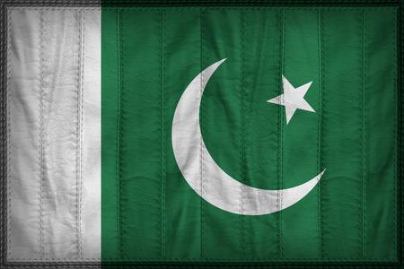 pakistan flag: Pakistan flag pattern on synthetic leather texture