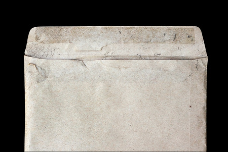 old envelope: closeup old dirty envelope on black background