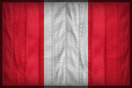 bandera de peru: Per� patr�n de bandera en la textura de cuero sint�tico