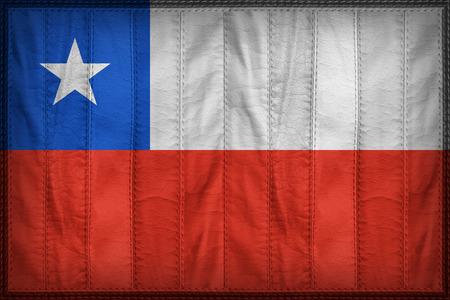 flag of chile: patr�n de bandera de Chile en la textura de cuero sint�tico