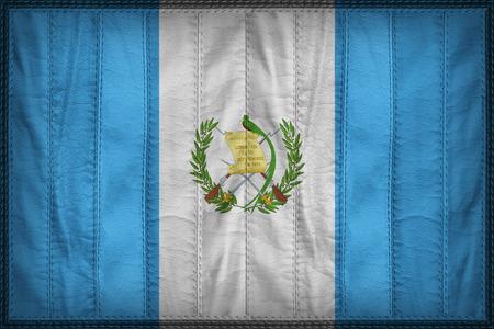 bandera de guatemala: Guatemala patrón de bandera en la textura de cuero sintético