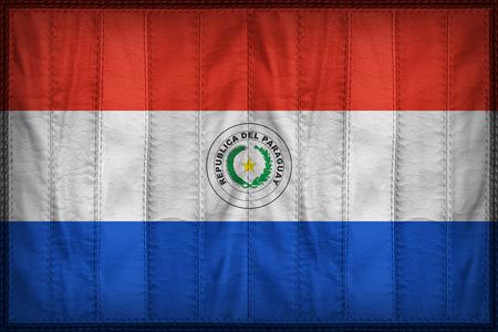 bandera de paraguay: patrón de bandera Paraguay en la textura de cuero sintético