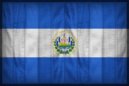 bandera de el salvador: patrón de la bandera El Salvador en la textura de cuero sintético
