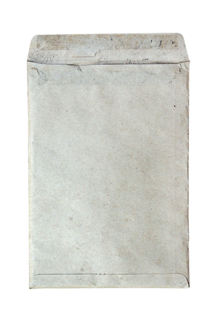 old envelope: old dirty envelope on white background Stock Photo