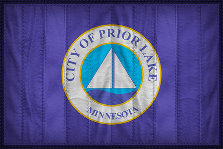 prior lake: Prior Lake City flag pattern on synthetic leather texture