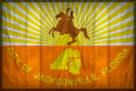 Jacksonville City flag pattern on synthetic leather texture