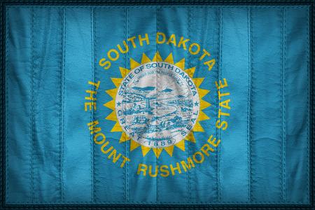 retrospective: South Dakota flag pattern on synthetic leather texture Stock Photo