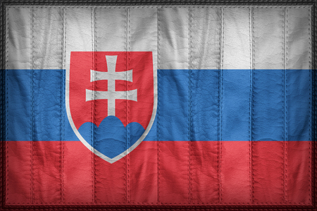 slovakia flag: Slovakia flag pattern on synthetic leather texture