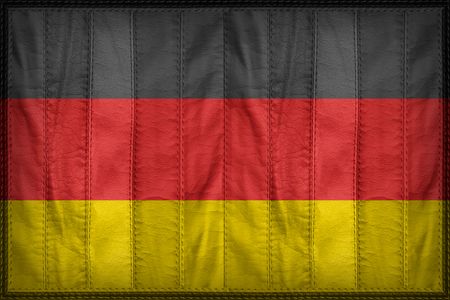 retrospective: Germany flag pattern on synthetic leather texture Stock Photo