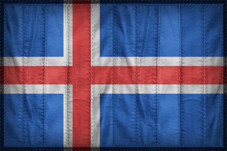 iceland flag: Iceland flag pattern on synthetic leather texture