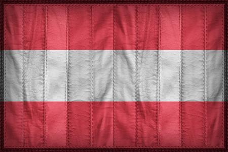 austria flag: Austria flag pattern on synthetic leather texture Stock Photo