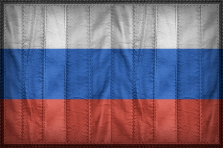 retrospective: Russia flag pattern on synthetic leather texture