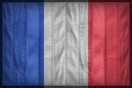 Frankreich Flagge Muster auf synthetischem Leder Textur