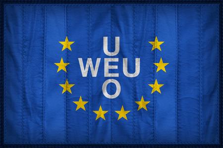 western european: Western European Union flag pattern on synthetic leather texture