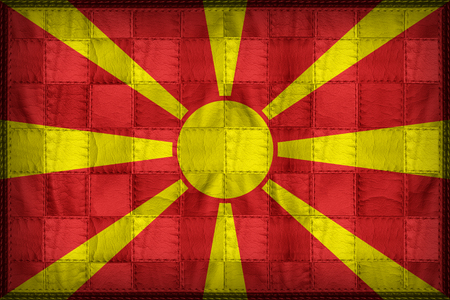 Macedonia flag pattern on synthetic leather texture