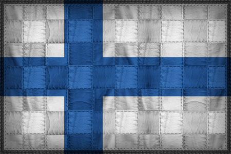Finnland Flagge Muster auf synthetischem Leder Textur
