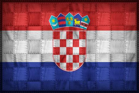 bandera de croacia: patrón de la bandera de Croacia en la textura de cuero sintético