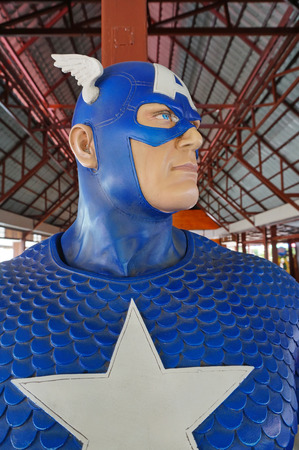 plastic soldier: AYUTTAYA,THAILAND - AUGUST 12, 2016 : A Captain America model at Thung Bua Chom floating market