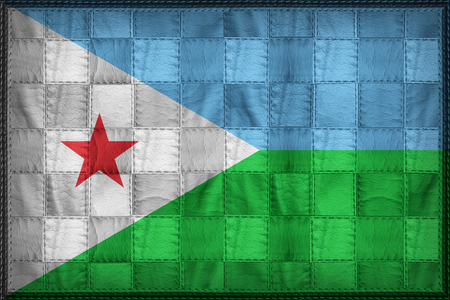 Djibouti flag pattern on synthetic leather texture