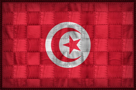 Tunisia flag pattern on synthetic leather texture