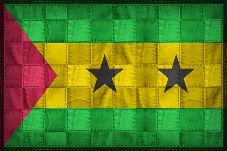 Sao Tome and Principe flag pattern on synthetic leather texture