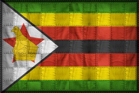 Patrón de bandera de Zimbabwe en textura de cuero sintético