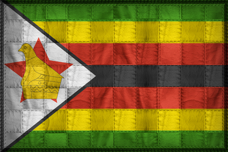 continente africano: Zimbabwe flag pattern on synthetic leather texture
