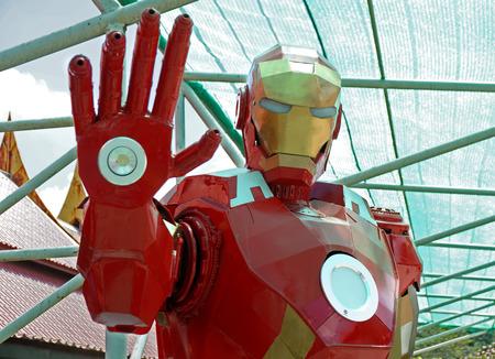 AYUTTAYA,THAILAND - MAY 30, 2015: Iron Man model made from steel at Thung Bua Chom floating market Editorial