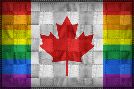 Canada Gay flag pattern on synthetic leather texture