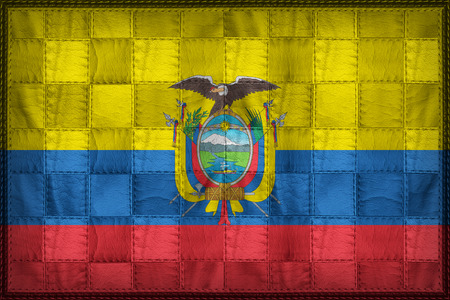 Ecuador flag pattern on synthetic leather texture Stock Photo