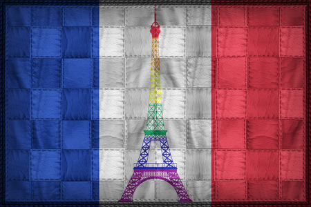 France Gay flag pattern on synthetic leather texture Stock Photo