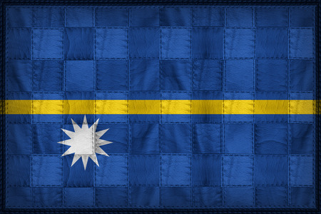 Nauru flag pattern on synthetic leather texture