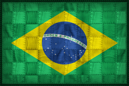 Brazil flag pattern on synthetic leather texture