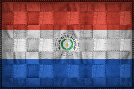 Paraguay flag pattern on synthetic leather texture